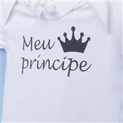 Body Manga Curta Meu Príncipe Branco Recém-Nascido a 3 Meses