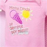 Body Manga Curta Minha Dinda se Derrete por Mim Rosa 12 a 15 meses