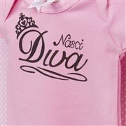 Body Manga Curta Nasci Diva Rosa 9 a 12 meses
