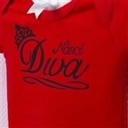 Body Manga Curta Nasci Diva Vermelho 12 a 15 meses
