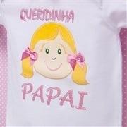 Body Manga Curta Queridinha do Papai Branco Recém-Nascido a 3 Meses
