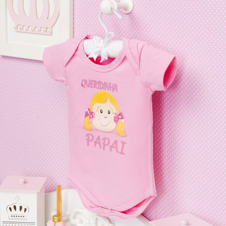 Body Manga Curta Queridinha do Papai Rosa 12 a 15 meses