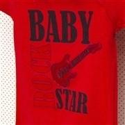 Body Manga Curta Baby Rock Star Vermelho Recém-Nascido a 3 Meses