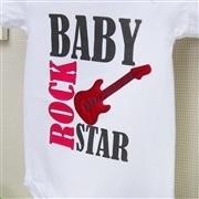 Body Manga Curta Baby Rock Star Branco Recém-Nascido a 3 Meses