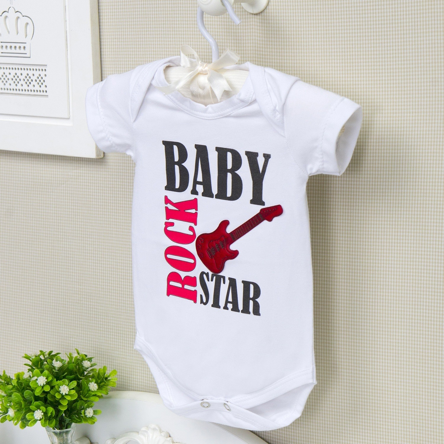 Body Manga Curta Baby Rock Star Branco 6 a 9 meses