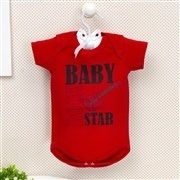 Body Manga Curta Baby Rock Star Vermelho 9 a 12 meses