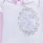 Body Manga Curta Flor em Arabesco Branco 3 a 6 Meses