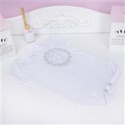 Body Manga Curta Flor em Arabesco Branco 6 a 9 meses