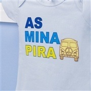 Body Manga Curta As Mina Pira Azul 3 a 6 Meses
