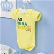 Body Manga Curta As Mina Pira Amarelo 6 a 9 meses