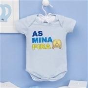 Body Manga Curta As Mina Pira Azul 6 a 9 meses
