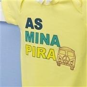 Body Manga Curta As Mina Pira Amarelo 9 a 12 meses