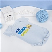 Body Manga Curta As Mina Pira Azul 9 a 12 meses