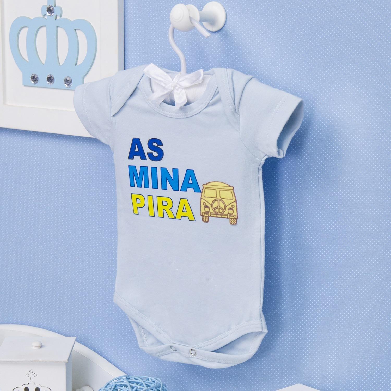 Body Manga Curta As Mina Pira Azul 12 a 15 meses