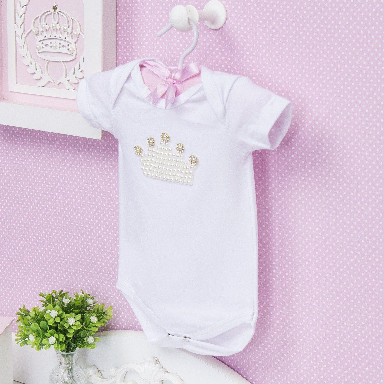 Body Manga Curta Coroa com Pérolas Branco Recém-Nascido a 3 Meses