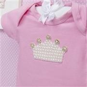 Body Manga Curta Coroa com Pérolas Rosa Recém-Nascido a 3 Meses