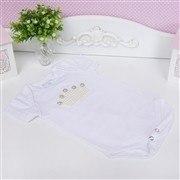 Body Manga Curta Coroa com Pérolas Branco 6 a 9 Meses