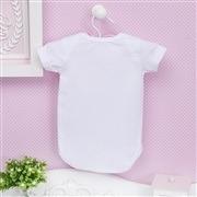 Body Manga Curta Coroa com Pérolas Branco 12 a 15 meses