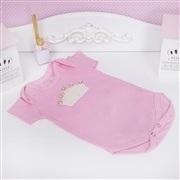 Body Manga Curta Coroa com Pérolas Rosa 12 a 15 meses