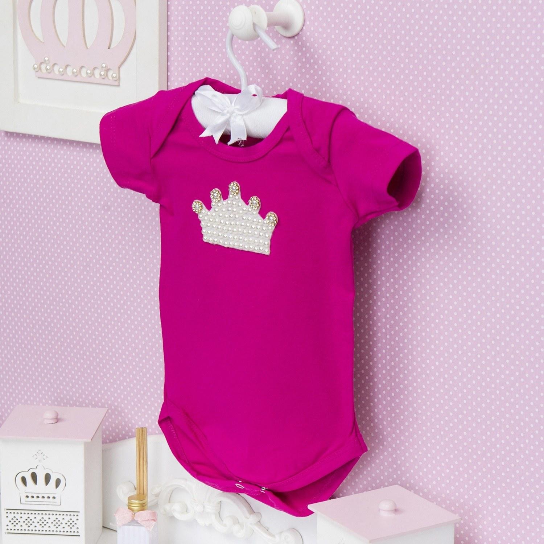 Body Manga Curta Coroa com Pérolas Pink 12 a 15 meses