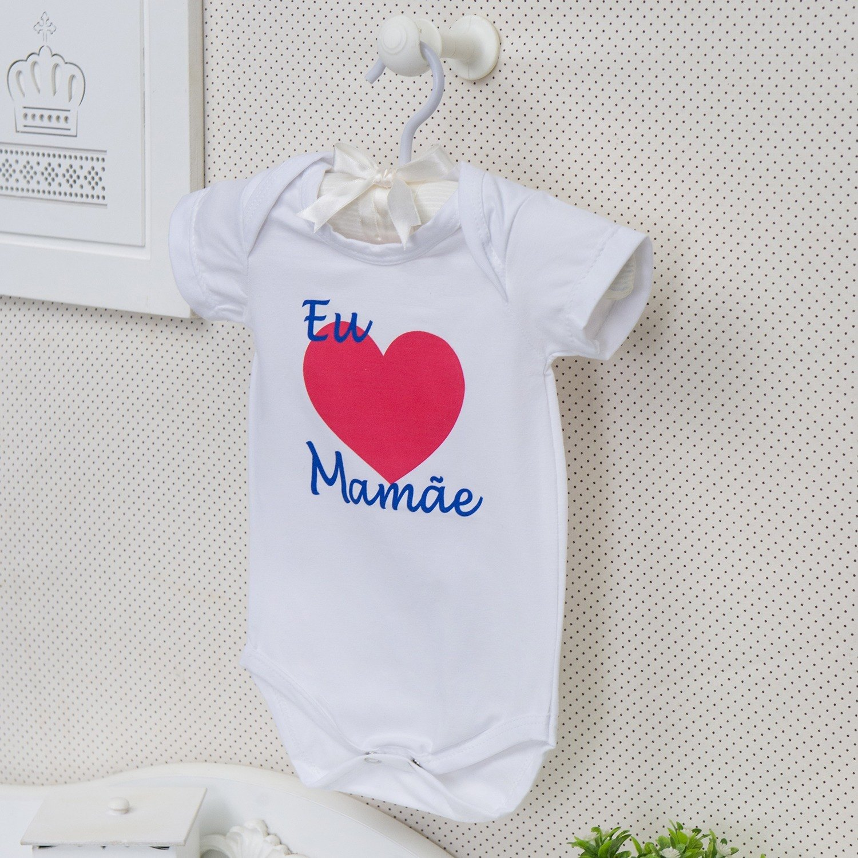 Body Manga Curta Eu Amo a Mamãe Coração Grande Branco Recém-Nascido a 3 Meses