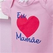 Body Manga Curta Eu Amo a Mamãe Coração Grande Rosa Recém-Nascido a 3 Meses