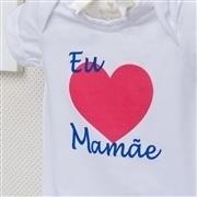 Body Manga Curta Eu Amo a Mamãe Coração Grande Branco 3 a 6 Meses
