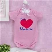 Body Manga Curta Eu Amo a Mamãe Coração Grande Rosa 9 a 12 Meses