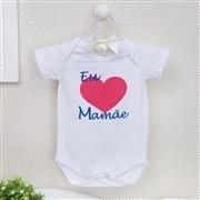Body Manga Curta Eu Amo a Mamãe Coração Grande Branco 12 a 15 meses