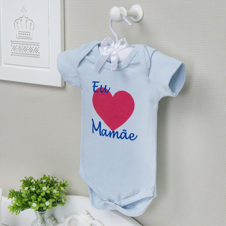 Body Manga Curta Eu Amo a Mamãe Coração Grande Azul 12 a 15 meses