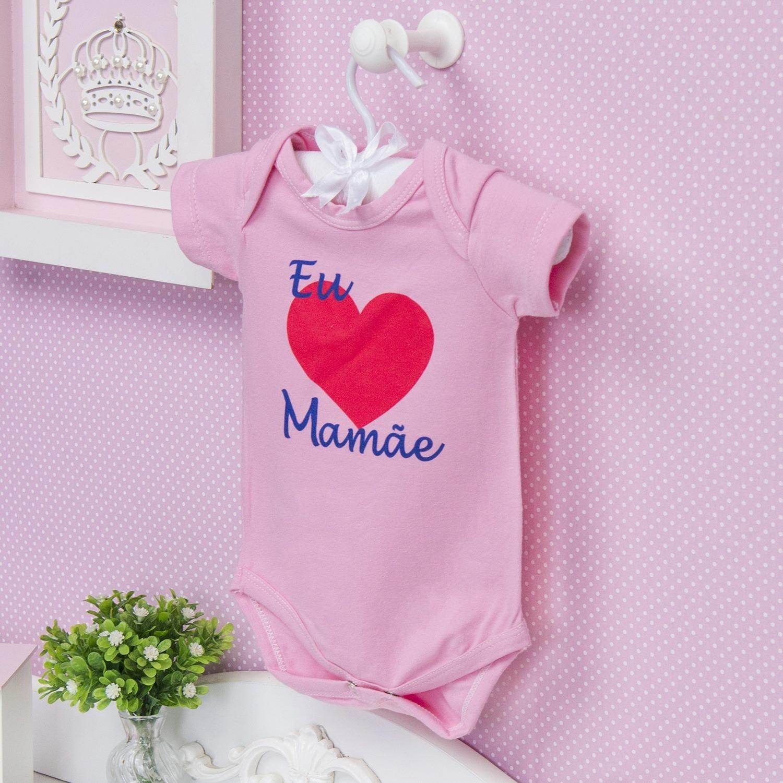 Body Manga Curta Eu Amo a Mamãe Coração Grande Rosa 12 a 15 meses