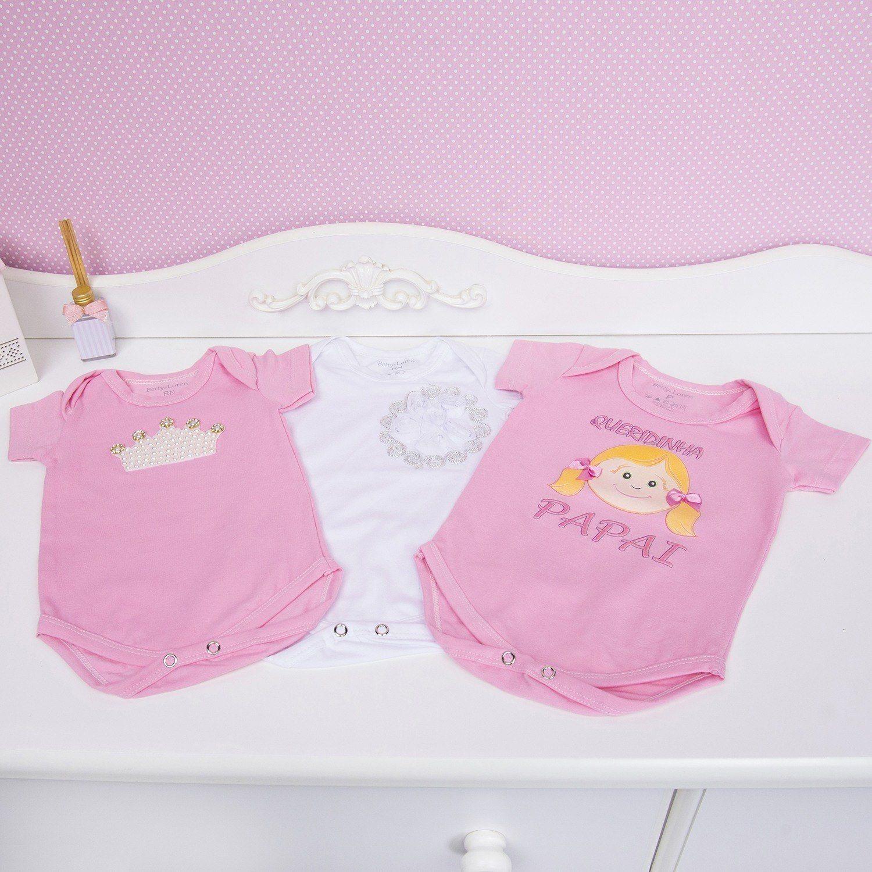 Conjunto de Bodies Manga Curta Princesinha do Papai Recém-Nascido a 3 meses