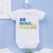 Conjunto de Bodies Manga Curta As Mina Pira no Nosso Príncipe Recém-Nascido a 3 meses