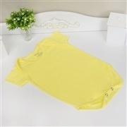 Body Manga Curta Liso Amarelo 3 a 6 Meses