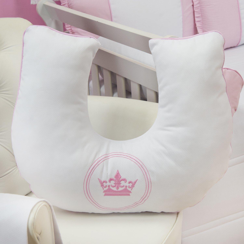 Almofada para Amamentação Coroa Brasão Rosa Xadrez