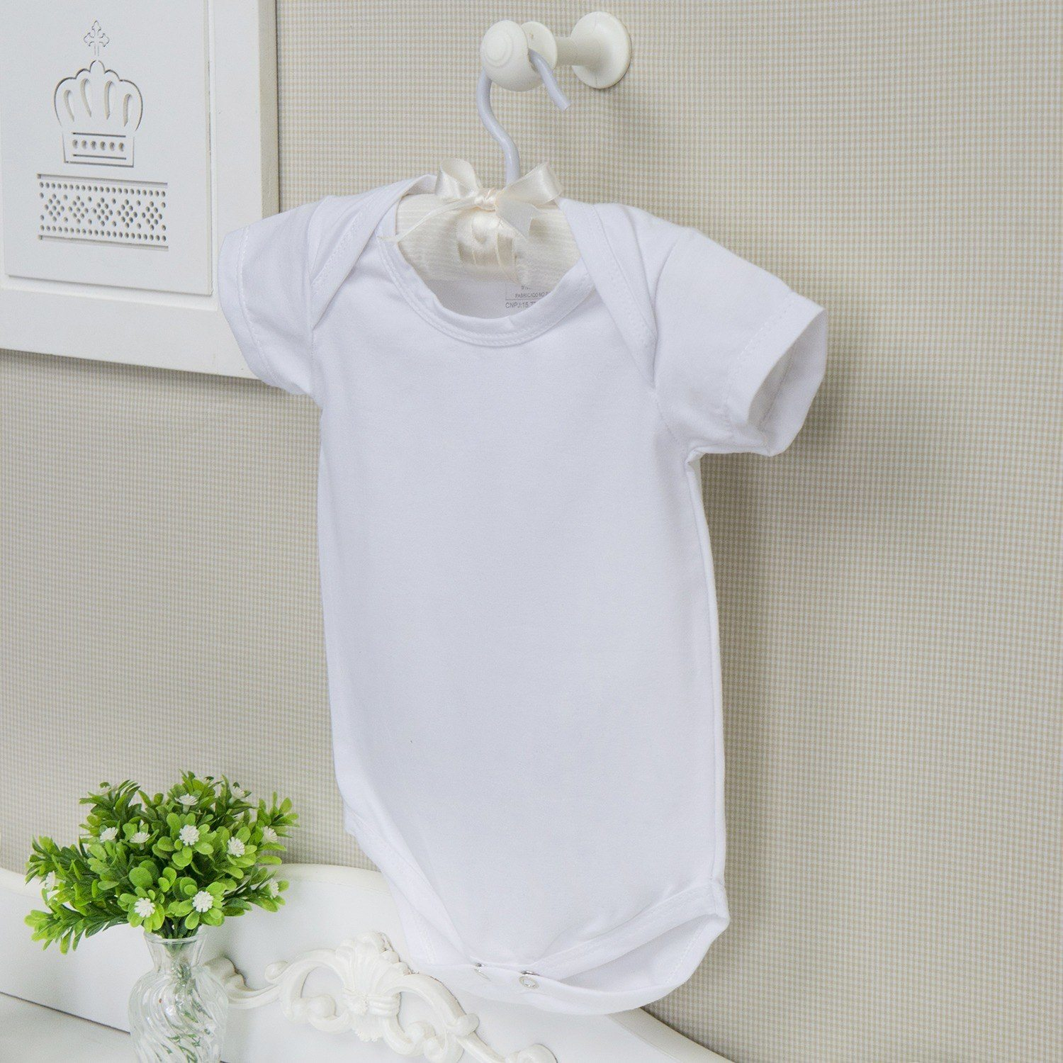 Body Manga Curta Basic Liso Branco 3 a 6 Meses