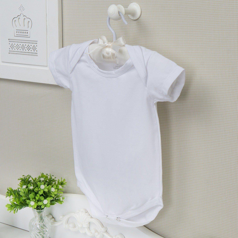 Body Manga Curta Basic Liso Branco 9 a 12 Meses