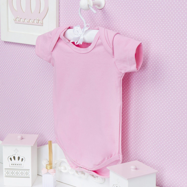 Body Manga Curta Basic Liso Rosa Recém-Nascido a 3 Meses
