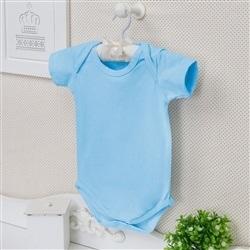 Body Manga Curta Basic Liso Azul Recém-Nascido a 3 Meses