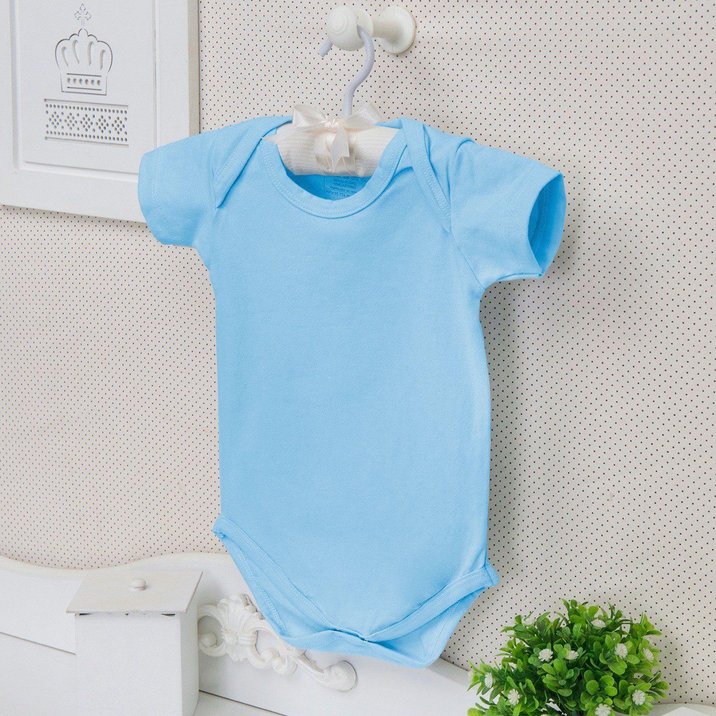 Body Manga Curta Basic Liso Azul 12 a 15 meses