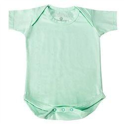 Body Manga Curta Basic Liso Verde Recém-Nascido a 3 Meses