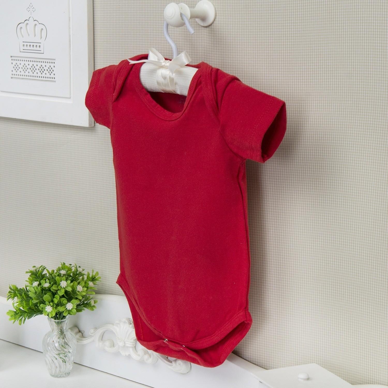 Body Manga Curta Basic Liso Vermelho 12 a 15 meses