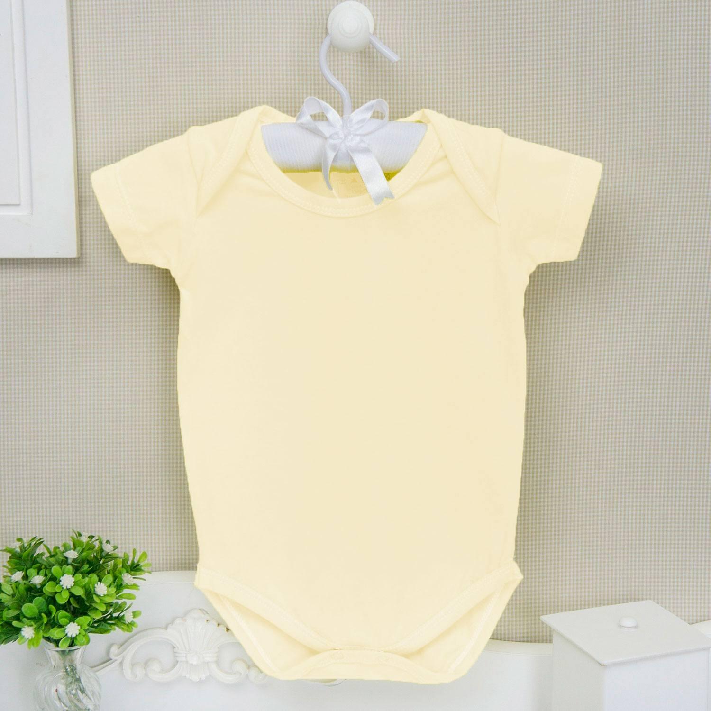 Body Manga Curta Basic Liso Amarelo Recém-Nascido a 3 Meses