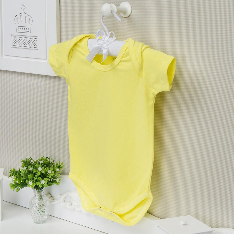 Body Manga Curta Basic Liso Amarelo 6 a 9 Meses