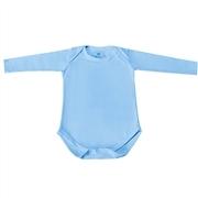 Body Manga Longa Basic Liso Azul Recém-Nascido a 3 Meses