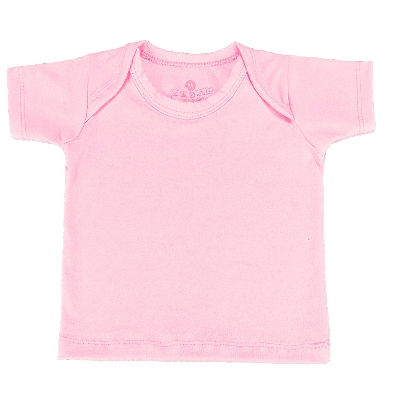 Camiseta Manga Curta Rosa Recém-Nascido a 3 Meses