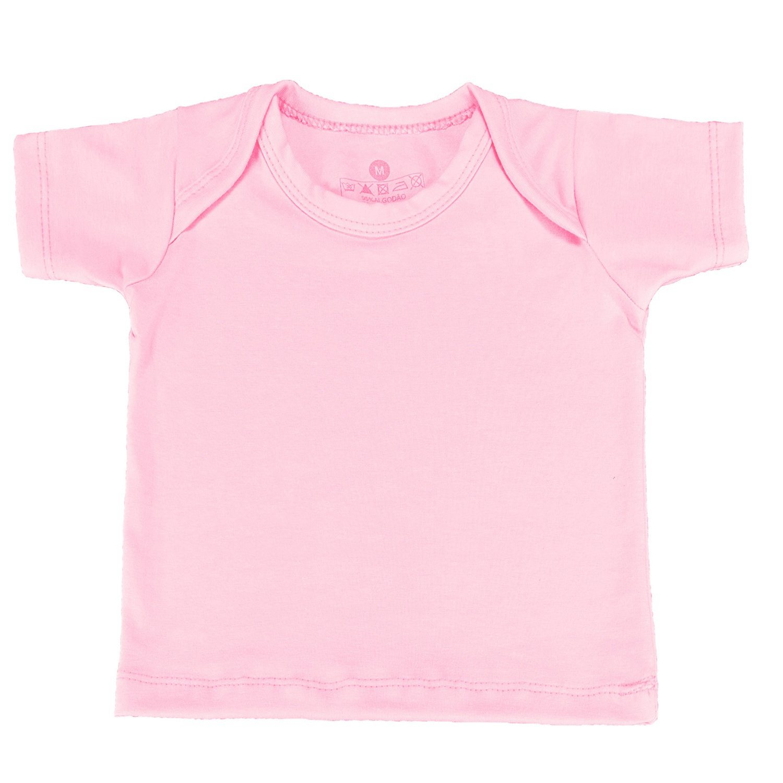 Camiseta Manga Curta Rosa 6 a 9 Meses