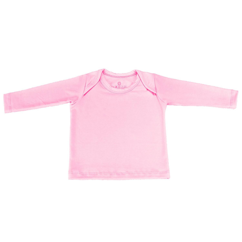 Camiseta Manga Longa Rosa Recém-Nascido a 3 Meses
