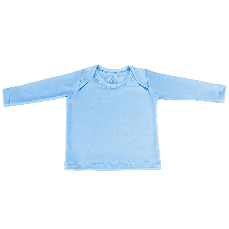 Camiseta Manga Longa Azul 6 a 9 Meses