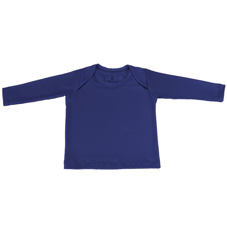 Camiseta Manga Longa Marinho 3 a 6 Meses
